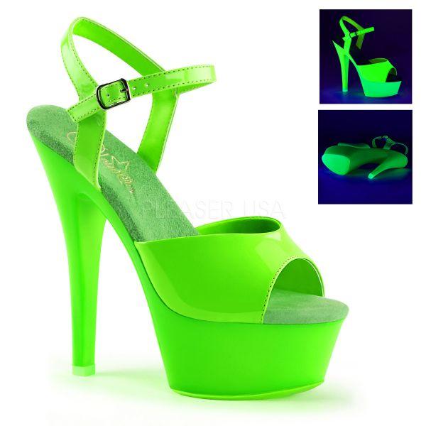 KISS-209UV neon grün   Plateau-Sandalette neon-grün